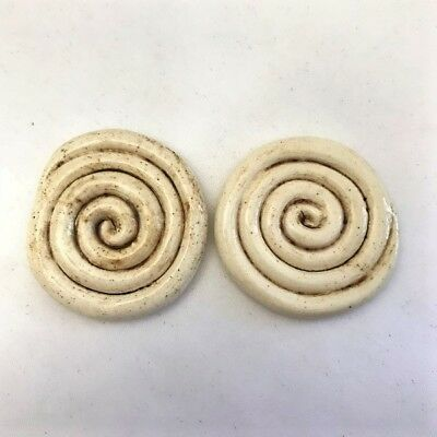 30mm CERAMIC SWIRLS (x2) - Beige ~ Mosaic Inserts, Art, Craft Supplies