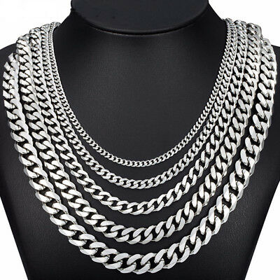 "3 - 14mm Mens Necklace Curb Cuban Link Silver Tone Stainless Steel Chain 18""-36"""