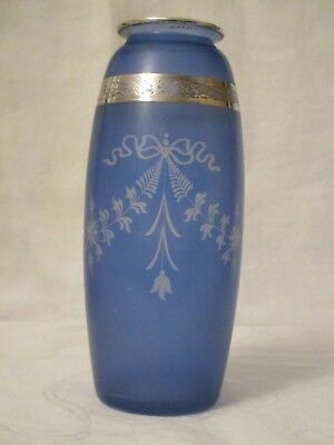 Antique Blue Glass and Sterling Overlay Vase by Hawkes