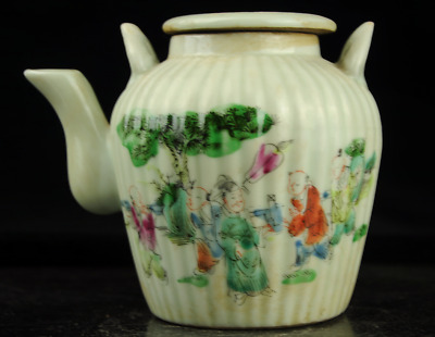 Chinese antique hand-made famille rose porcelain Hand painted figure kettle c01