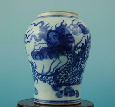 Chinese antique Blue and White porcelain dragon pattern pot /qianlong mark c01