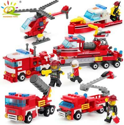 348pcs Fire Fighting 4in1 Truck Car Helicopter Boat Building Blocks with Figures