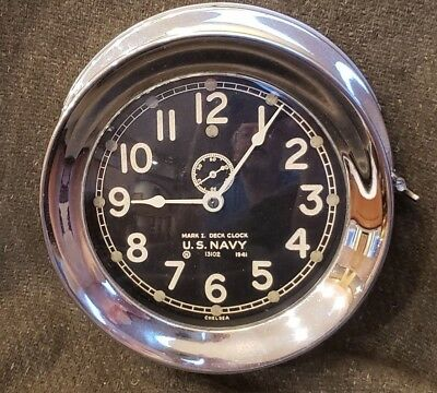 WWII Chelsea US Navy Deck Clock Ships clock USS ACREE DE167 @ JAN 1942