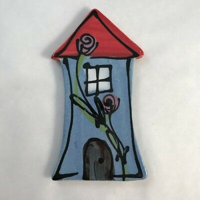 WHIMSICAL CERAMIC HOUSE - Blue - 100x55mm ~ Mosaic Inserts, Art, Craft Supplies