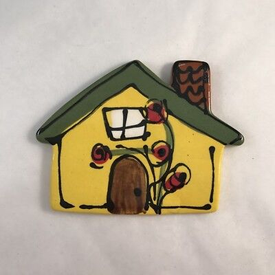 CERAMIC HOUSE with chimney - Yellow - 70x95mm ~ Mosaic Inserts, Art, Craft Su...