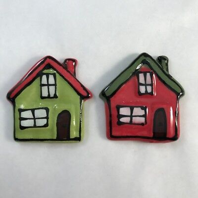 CERAMIC HOUSES x2 - Green and Red - 45x45mm ~ Mosaic Inserts, Art, Craft Supp...