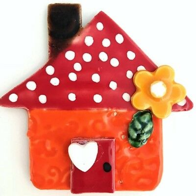 CERAMIC HOUSE 3D - Orange - 75x85mm ~ Mosaic Inserts, Art, Craft Supplies