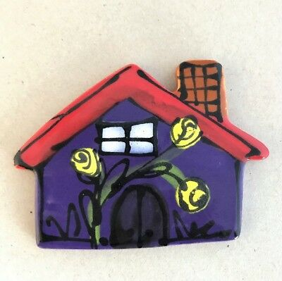 CERAMIC HOUSE with chimney - Purple - 70x95mm ~ Mosaic Inserts, Art, Craft Su...