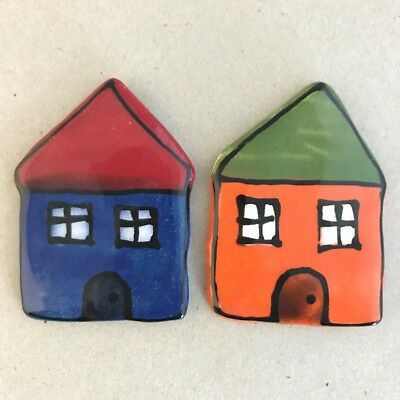 CERAMIC HOUSES x2 - Blue and Orange – 65x45mm ~ Mosaic Inserts, Art, Craft Su...