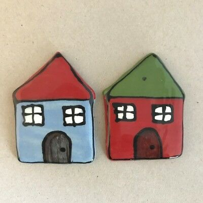 CERAMIC HOUSES x2 - Blue and Red – 65x45mm ~ Mosaic Inserts, Art, Craft Supplies