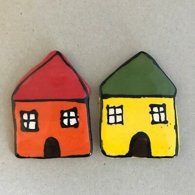 CERAMIC HOUSES x2 - Orange and Yellow – 65x45mm ~ Mosaic Inserts, Art, Craft ...