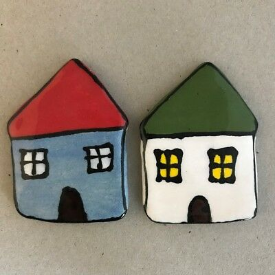 CERAMIC HOUSES x2 - Blue and White – 65x45mm ~ Mosaic Inserts, Art, Craft Sup...