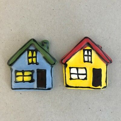 CERAMIC HOUSES x2 - Blue and Yellow - 45x45mm ~ Mosaic Inserts, Art, Craft Su...