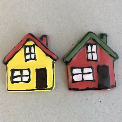 CERAMIC HOUSES x2 - Red and Yellow - 45x45mm ~ Mosaic Inserts, Art, Craft Sup...