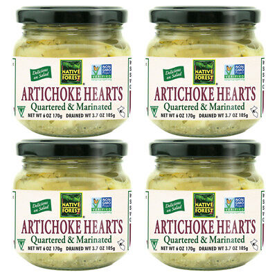 4X New Native Forest Natural Marinated Artichoke Hearts Vegan Gluten Free Foods