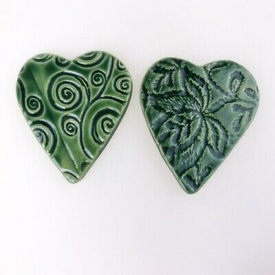 Ceramic Hearts (Textured) - x2 - Green ~ Mosaic Inserts, Art, Craft Supplies
