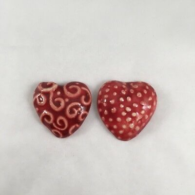 35mm Textured Puffy Ceramic Hearts x2 - Red ~ Mosaic Inserts, Art, Craft Supp...