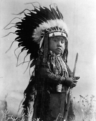 New 11x14 Native American Photo: Young Indian Boy, Future Warrior of Cheyenne