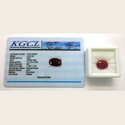 Natural Ruby Gemstone Approximately 4.9ct Oval Cut with KGCL Certificate