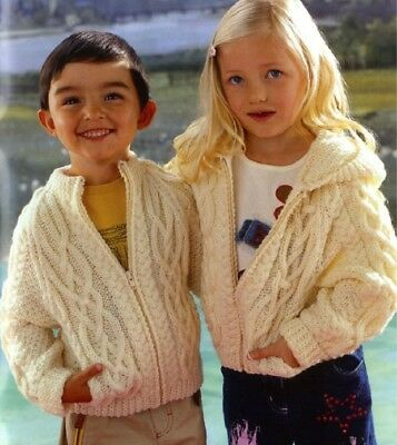 Knitting Pattern Children's Zipped Hooded Jacket Cabled Copy Aged 1-12 Years