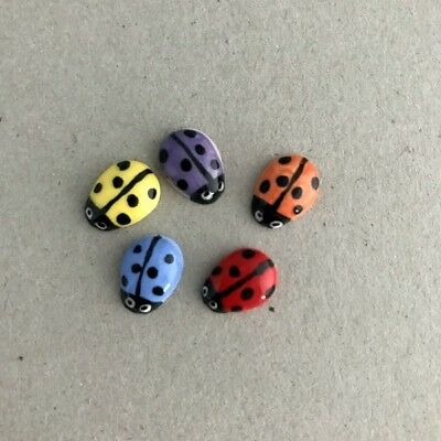CERAMIC LADYBIRDS / LADYBUGS (x5) - 10x8mm - Multicoloured ~ Mosaic, Art, Cra...