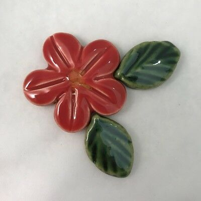 40mm CERAMIC FLOWER and 2 LEAVES - RED ~ Mosaic Inserts, Art, Craft Supplies