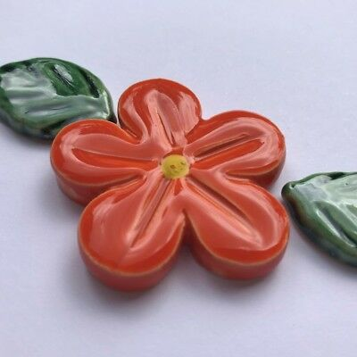 40mm CERAMIC FLOWER & 2 LEAVES - Orange ~ Mosaic Inserts, Art, Craft Supplies