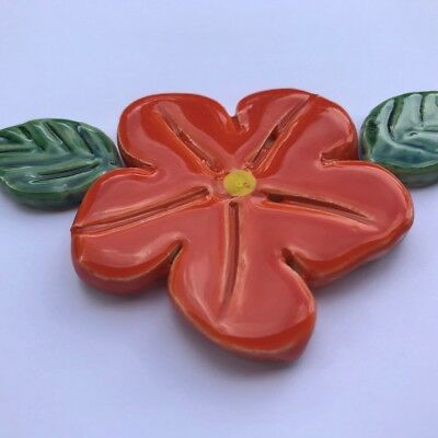 50mm Ceramic Flower and 2 Leaves - Orange ~ Mosaic Inserts, Art, Craft Supplies