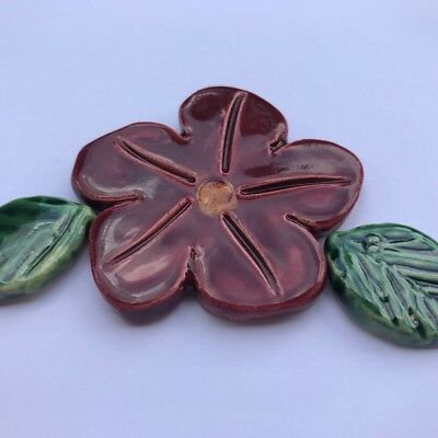 50mm Ceramic Flower and 2 Leaves - Maroon ~ Mosaic Inserts, Art, Craft Supplies
