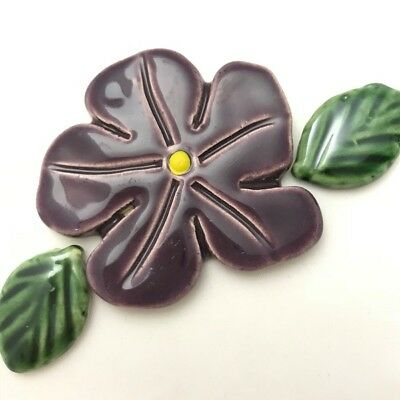 60mm Ceramic Flower and 2 leaves - Purple ~ Mosaic Inserts, Art, Craft Supplies
