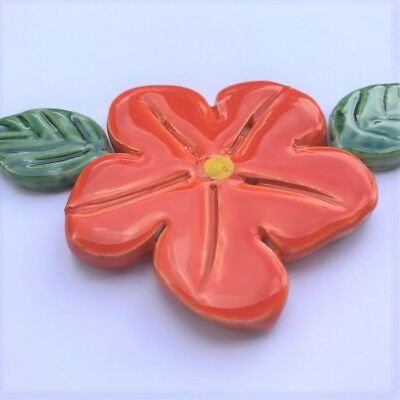 60mm Ceramic Flower and 2 leaves - Orange ~ Mosaic Inserts, Art, Craft Supplies