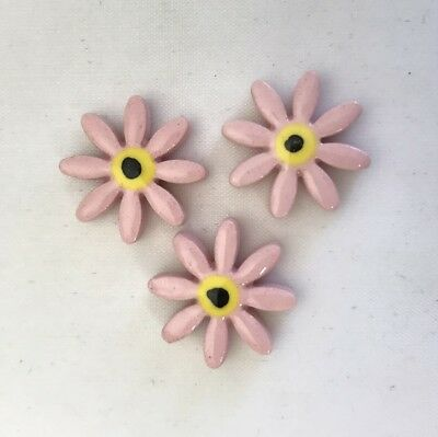 17mm CERAMIC DAISIES FLOWERS - x3 - Pink ~ Mosaic Inserts, Art, Craft Supplies