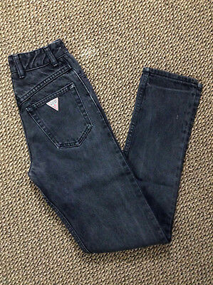 GUESS womens Vtg 90s Black High Waisted Slim Fit Jeans 25w USAMADE