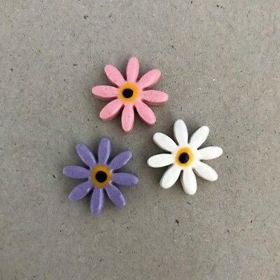 17mm CERAMIC DAISIES FLOWERS - x3 - Purple Pink White ~ Mosaic Inserts, Art, ...