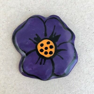 60mm CERAMIC PANSY - Purple ~ Mosaic Inserts, Art, Craft Supplies