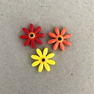 17mm CERAMIC DAISIES FLOWERS - x3 - Red Orange Yellow ~ Mosaic Inserts, Art, ...