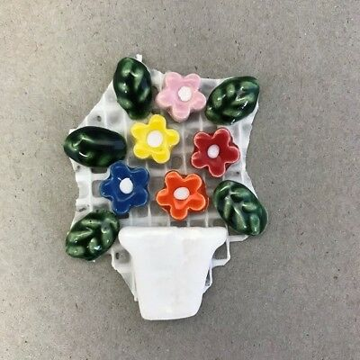 CERAMIC FLOWERS and LEAVES in POT - White Multicoloured ~ Mosaic Inserts, Art...