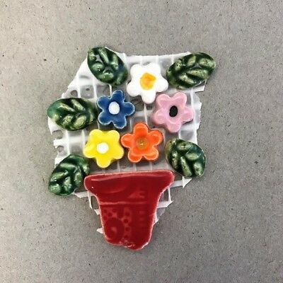 CERAMIC FLOWERS and LEAVES in POT -Red Multicoloured ~ Mosaic Inserts, Art, C...