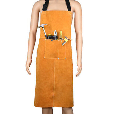 Mens Welding Apron Leather Work Protective Clothing Dust Proof Uniform Safety