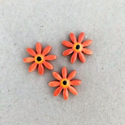 17mm CERAMIC DAISIES FLOWERS - x3 - Orange ~ Mosaic Inserts, Art, Craft Supplies