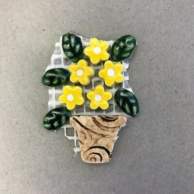 CERAMIC FLOWERS and LEAVES in POT on mesh - Beige Yellow ~ Mosaic, Art, Craft...