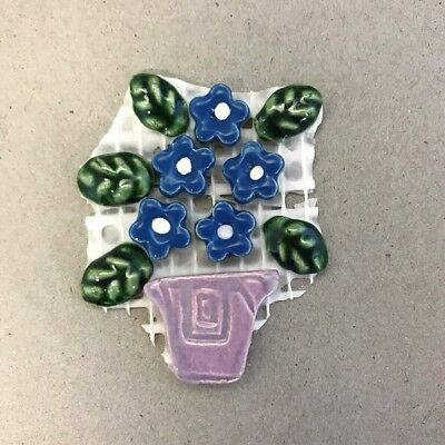 CERAMIC FLOWERS and LEAVES in POT - Purple Blue ~ Mosaic Inserts, Art, Craft ...