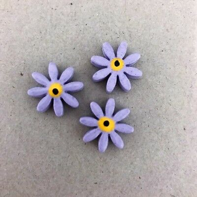 17mm CERAMIC DAISIES FLOWERS - x3 - Lilac ~ Mosaic Inserts, Art, Craft Supplies