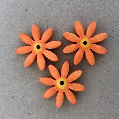 25mm CERAMIC DAISIES FLOWERS - x3 - Orange ~ Mosaic Inserts, Art, Craft Supplies