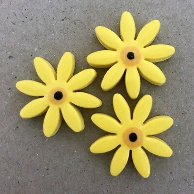 25mm CERAMIC DAISIES FLOWERS - x3 - Yellow ~ Mosaic Inserts, Art, Craft Supplies
