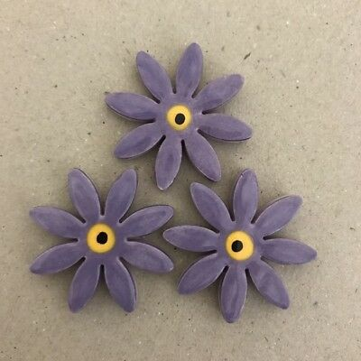 32mm CERAMIC DAISIES FLOWERS - x3 - Purple ~ Mosaic Inserts, Art, Craft Supplies