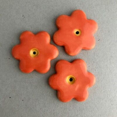 36mm CERAMIC FLOWERS (x3) - Orange ~ Mosaic Inserts, Art, Craft Supplies
