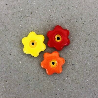 17mm CERAMIC FLOWERS (x3) - Red Orange Yellow ~ Mosaic Inserts, Art, Craft Su...