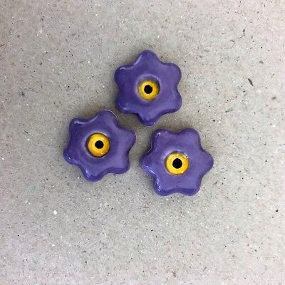 17mm CERAMIC FLOWERS (x3) - Purple ~ Mosaic Inserts, Art, Craft Supplies