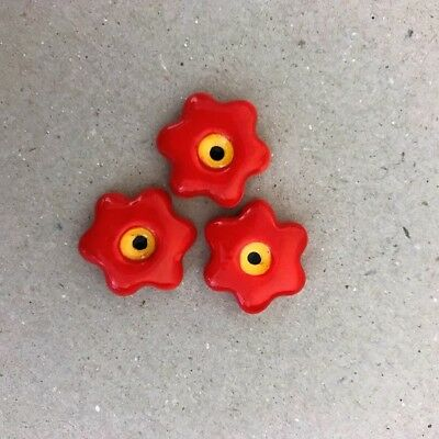 17mm CERAMIC FLOWERS (x3) - Red ~ Mosaic Inserts, Art, Craft Supplies